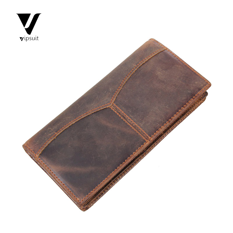 Male leather wallet long wallet first layer of leather wallet handmade retro crazy horsehide leather multifunction wallet men wallet