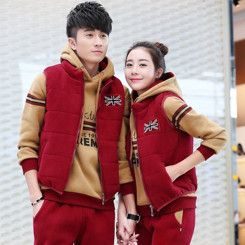Male ms. autumn and winter xl plus thick velvet hooded sports suit lovers sportswear casual wear three sets of shipping