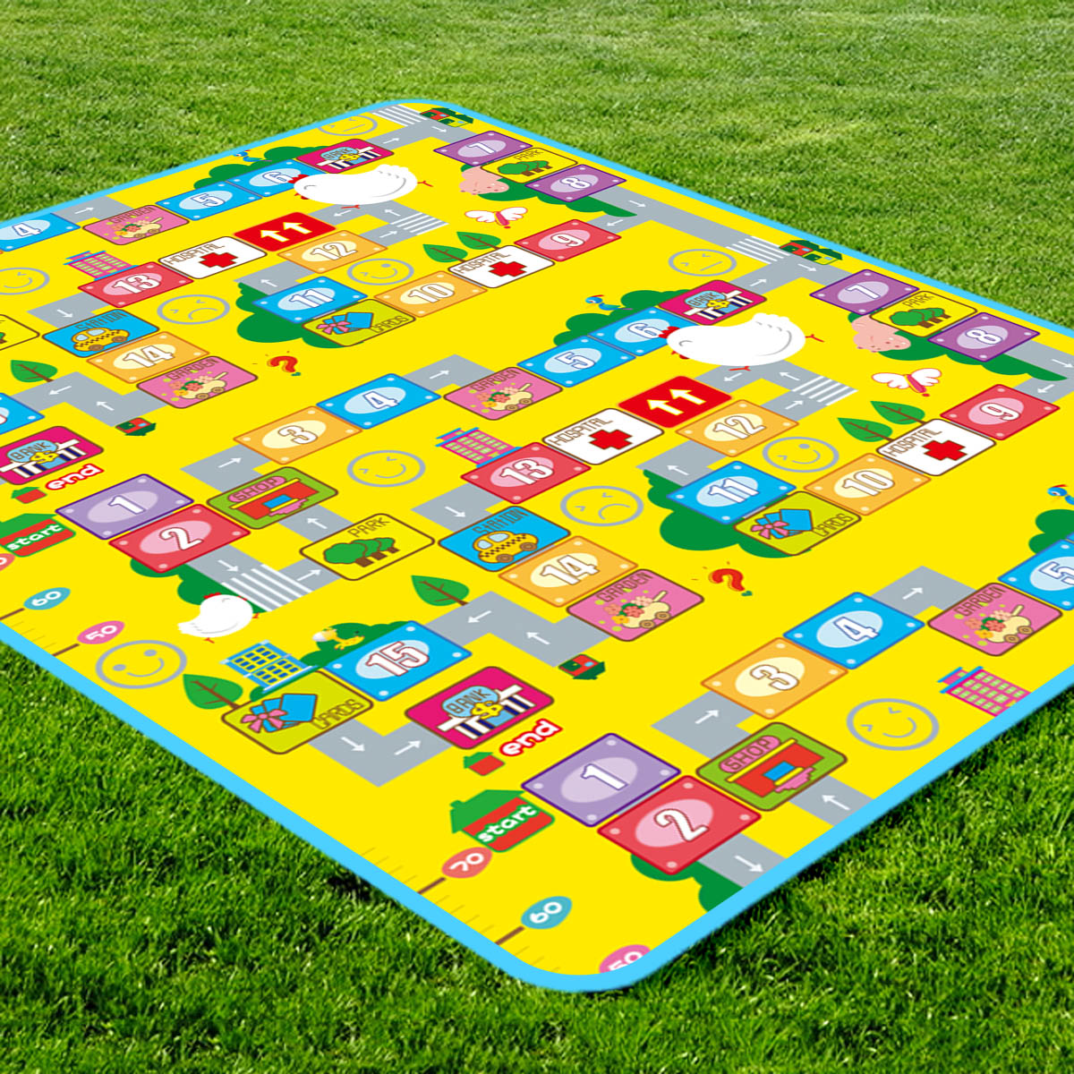Man bao baby sided green baby crawling mat thick foam mats children climb pad game blanket picnic mat