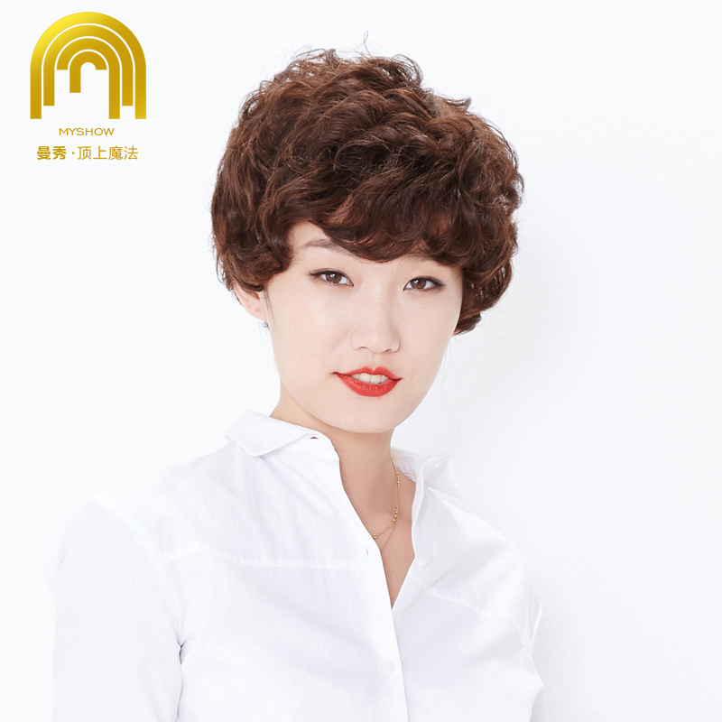 Man show full set of hand woven hair real hair wig ms. qi liu short hair wig middle-aged human hair wig
