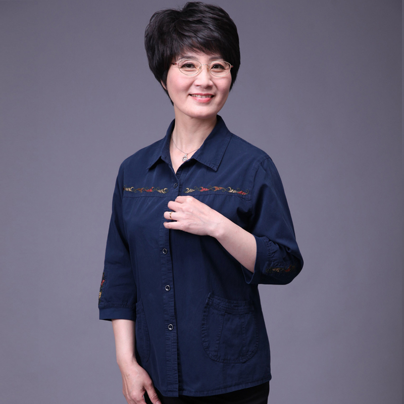 Mando china in the elderly grandmother dress mother dress loose big yards ladies pure cotton seven points sleeve shirt lining Shirts