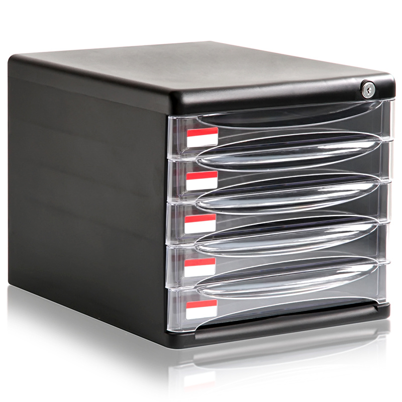 Many provinces shipping deli 9795 five lockable file cabinet drawer transparent plastic storage box data file boxes