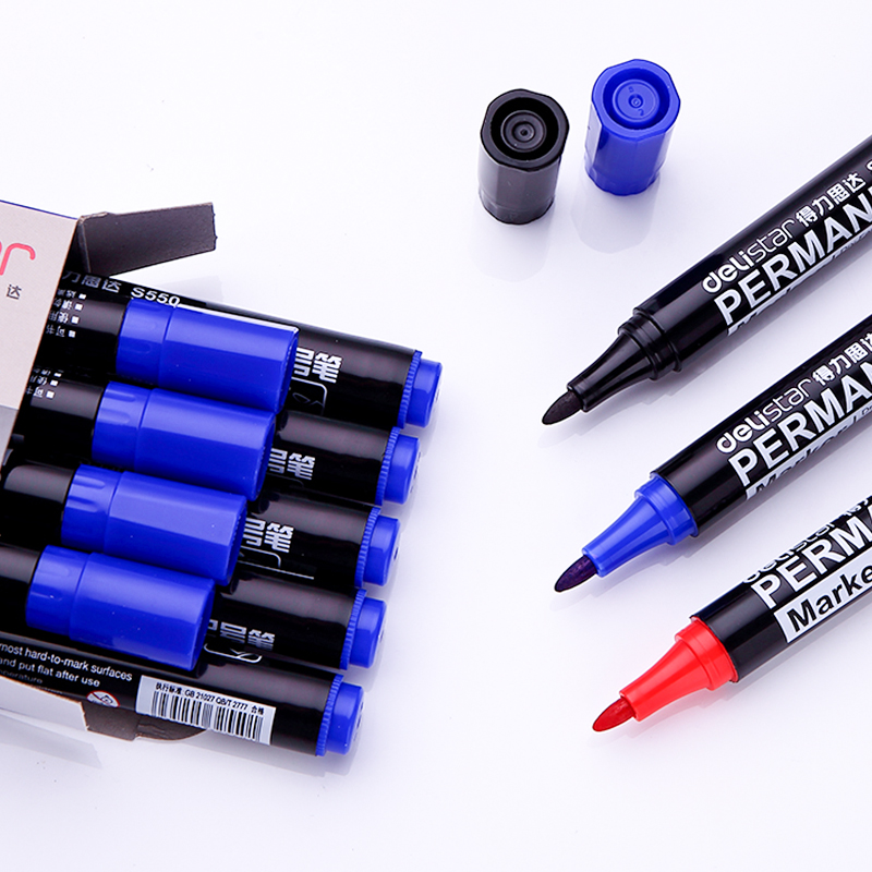 Many provinces shipping deli marker pen marker pen express shipping large permanent marker pen marker pen oil Black and red