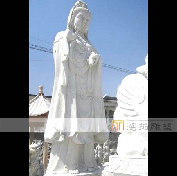 Marble white marble stone carving quyang stone carving of guanyin dripping guanyin buddha professional custom MS999