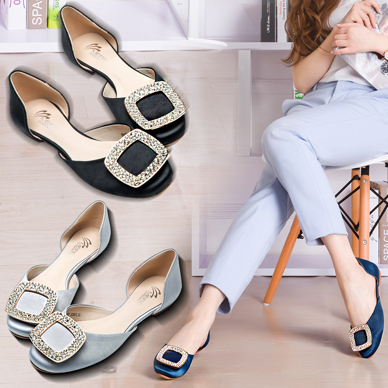 Marie claire o'connell 2016 new fall shoes women shoes women shoes shallow mouth hollow square buckle flat shoes women shoes rhinestone