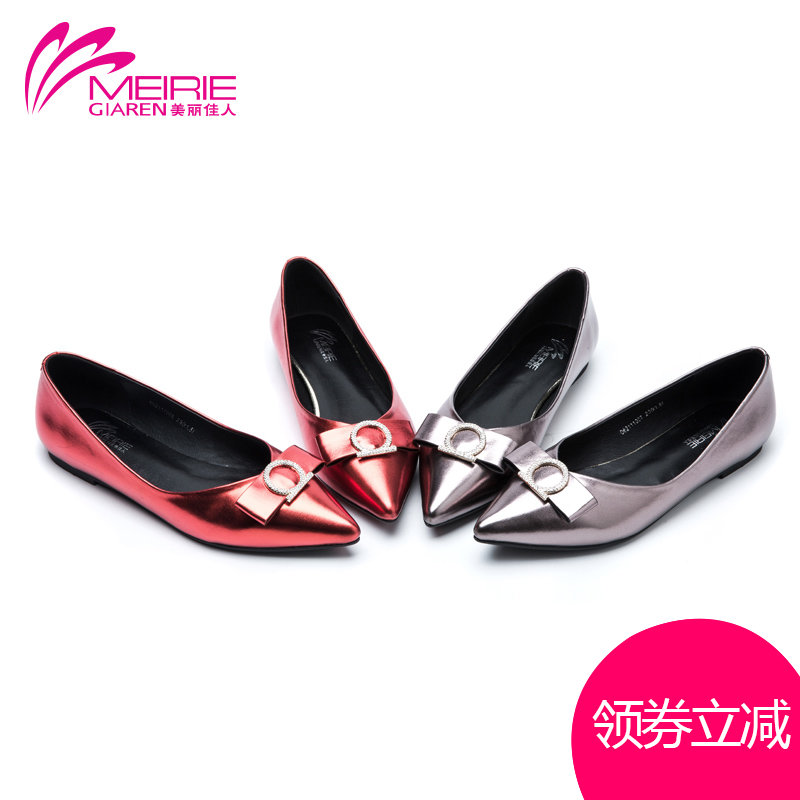 Marie claire o'connell's 2016 spring new single shoes women shoes fish head bow diamond tip head shallow mouth shoes work shoes