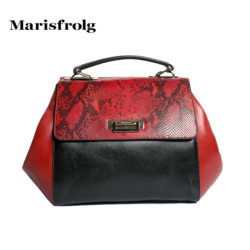 Marisfrolg masifeier counter genuine winter new retro hit color stitching handbags python handbags