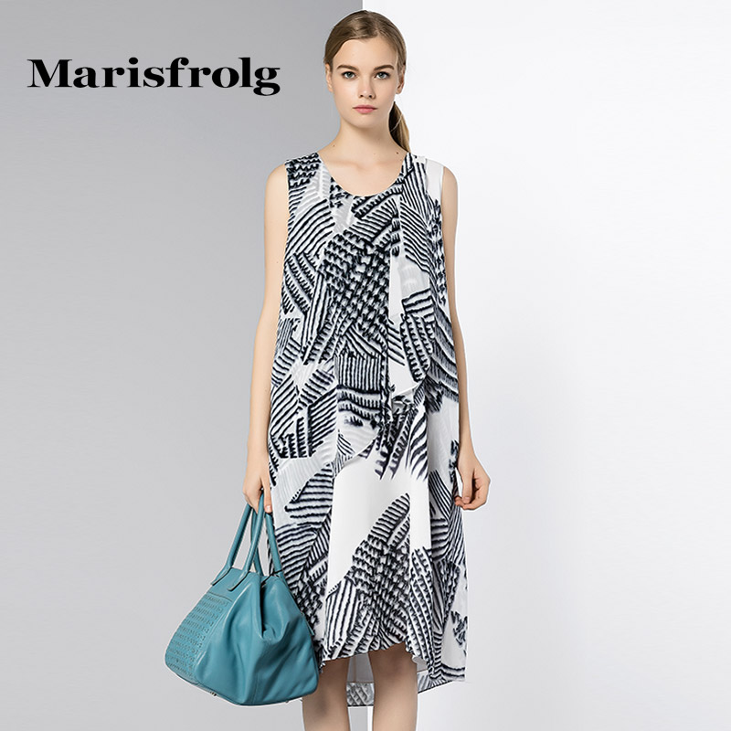 Marisfrolg masifeier silhouette geometric lines printed silk dress counter genuine amoi female