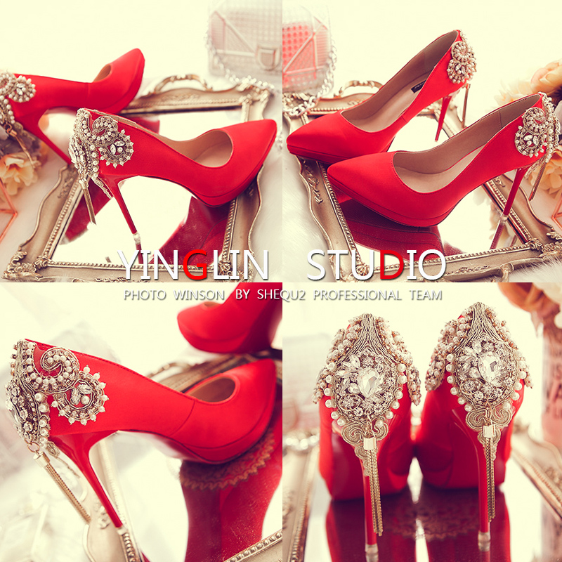 Buy Married female red shoes wedding
