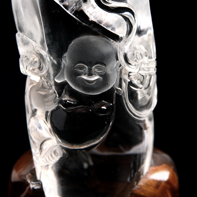 Masaharu crystal selected natural white crystal buddha playing fine white crystal buddha carved buddha belly
