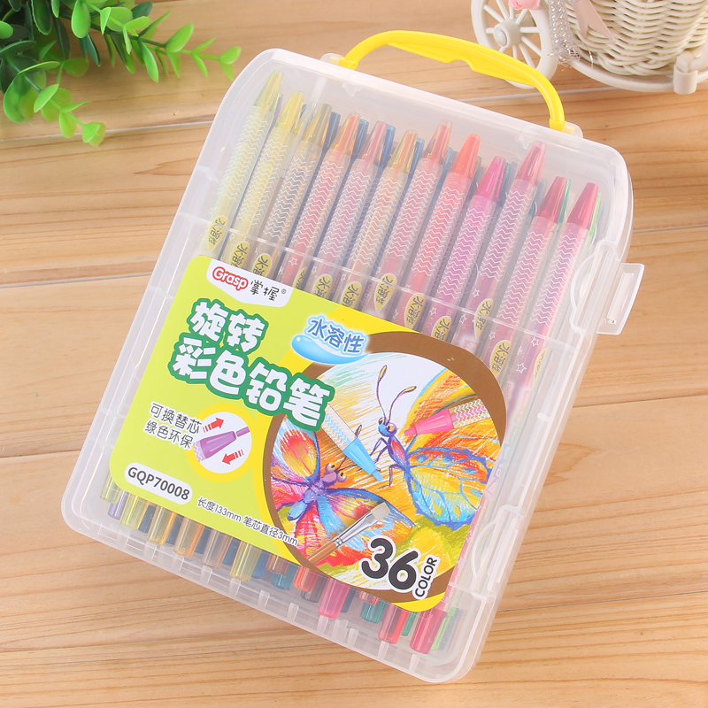 Master 12 color rotary soluble color of lead soluble colored pencil automatic pencil pen pencil free 18/24/36 colors