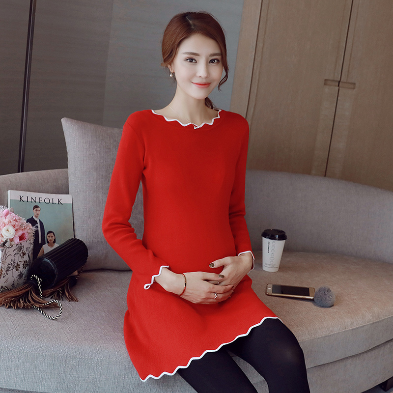 Maternity winter korean pregnant women dress and long sections solid color sweater bottoming shirt pregnant women skirt autumn and winter influx of mother
