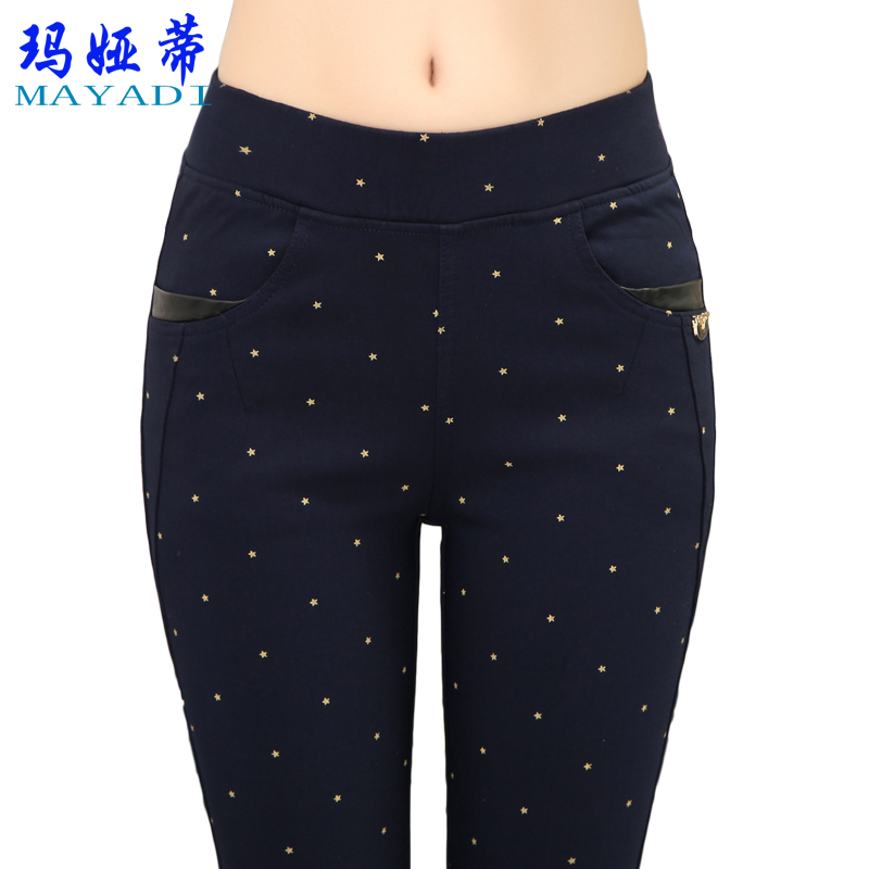 Maya di spring and autumn paragraph elastic waist ms. feet pants trousers spring plus thick velvet leggings female autumn and winter outer wear