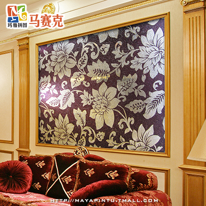 Maya euclidian over the road flower crystal glass mosaic tile living room entrance tv background wall painting
