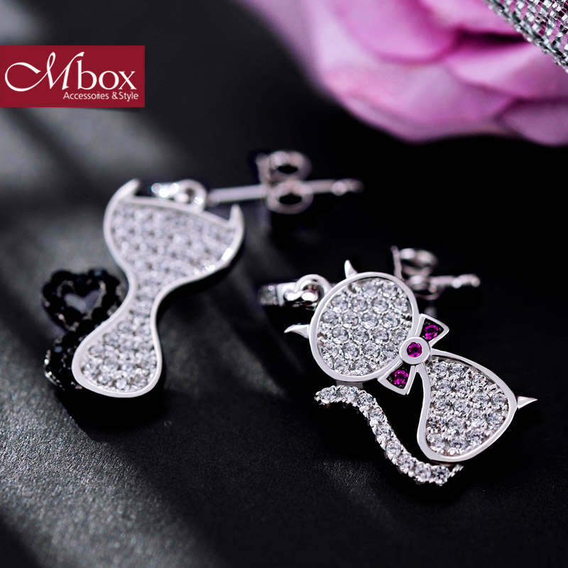 Mbox earrings female models temperament korean version of the s925 silver earrings adorable cat design stylish atmosphere elegant cat
