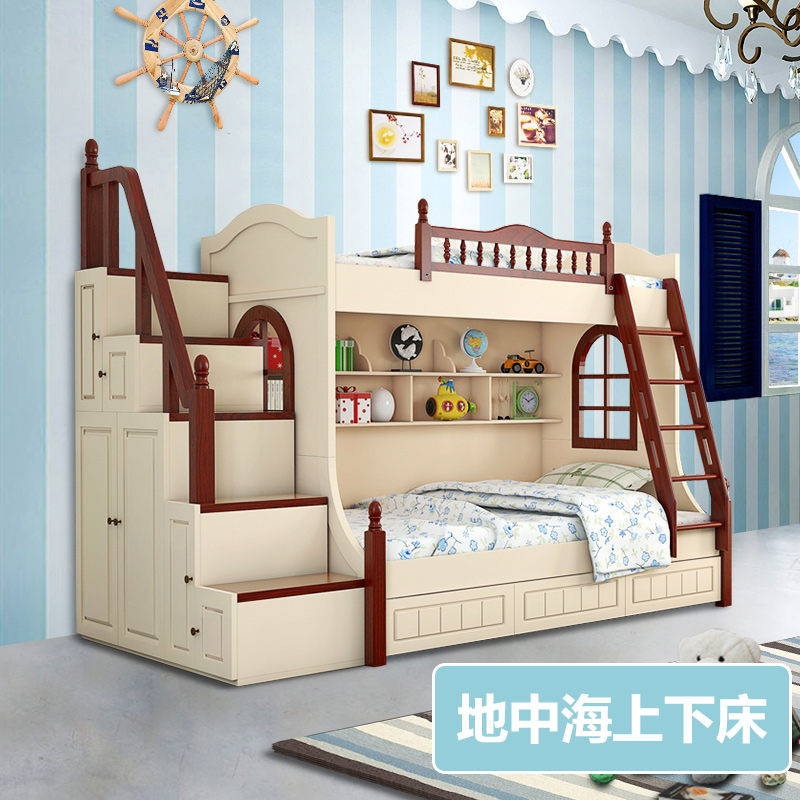 Mediterranean european level bunk bed wood bunk bed bunk bed children bed picture bed bed bunk bed mother and 1.5 men and women