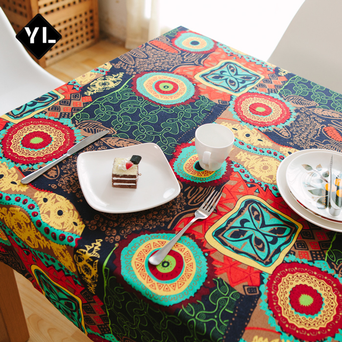 Mediterranean linen southeast asian ethnic style complex fresh coffee table cloth tablecloths pastoral coffee table cloth tablecloths cover cloth