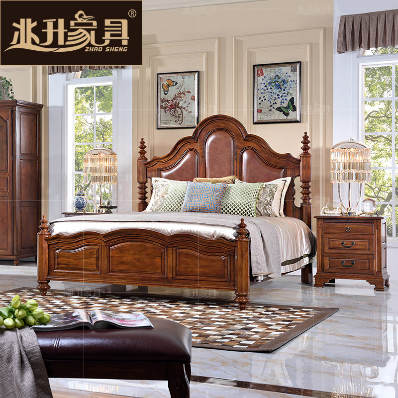 Megalitres furniture american country wood double bed continental marriage bed 1.8 m bed minimalist bedroom yg