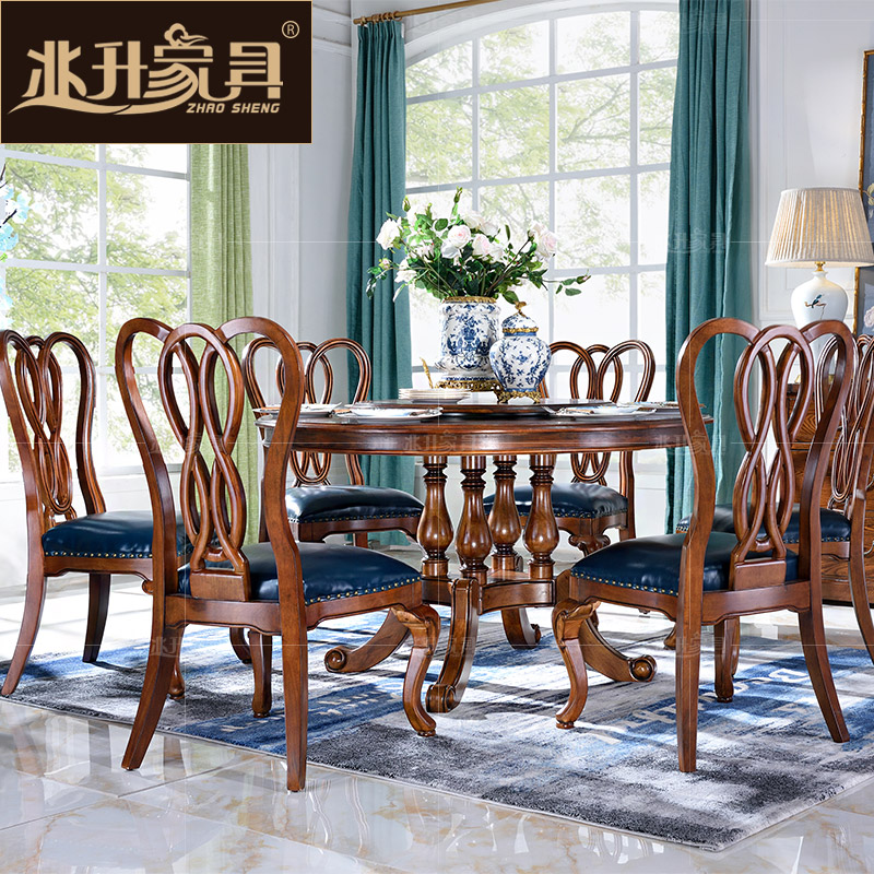 Megalitres furniture american round table solid wood dining tables and chairs combination of european classical dining table with a turntable yb