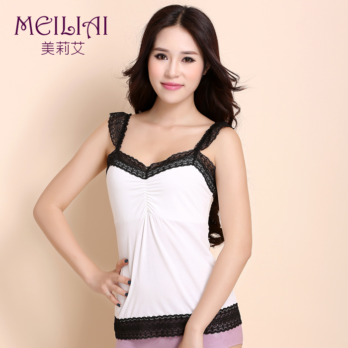 Meièè¾new spring and summer female modal fabric lace shoulder strap camisole bottoming shirt hit the color sense