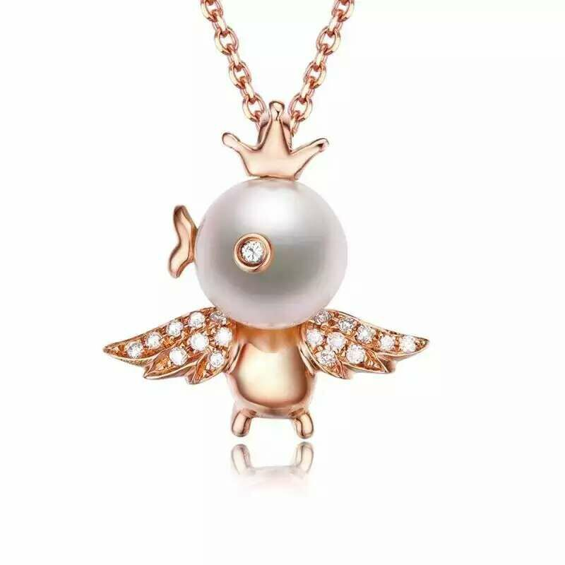 Mei yu joy lovely fashion jewelry natural freshwater pearl pendant perfect circle genuine g18k gold to send a friend a lover