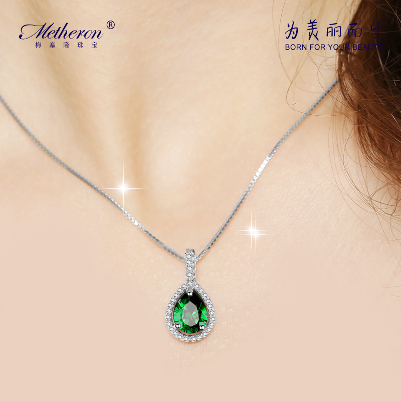 Meise long 925 silver droplets diamond necklace female models vintage jewelry pendant short paragraph clavicle simple chain to send gifts