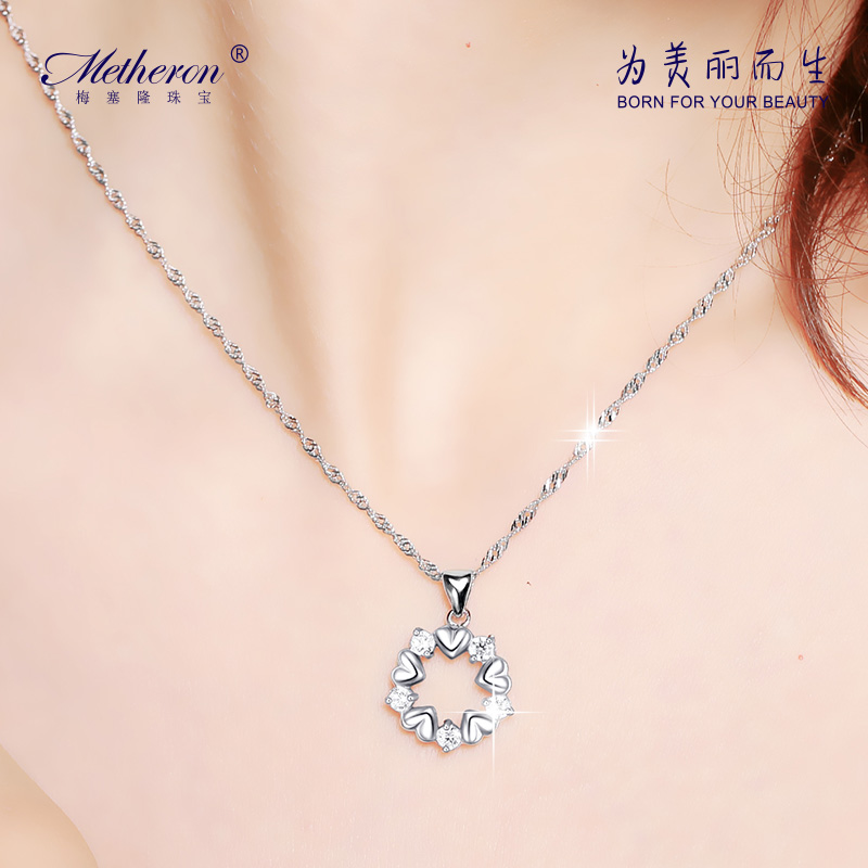 Meise long 925 silver necklace clavicle chain heart flowers female models simple short paragraph with decorations hanging pendant gift