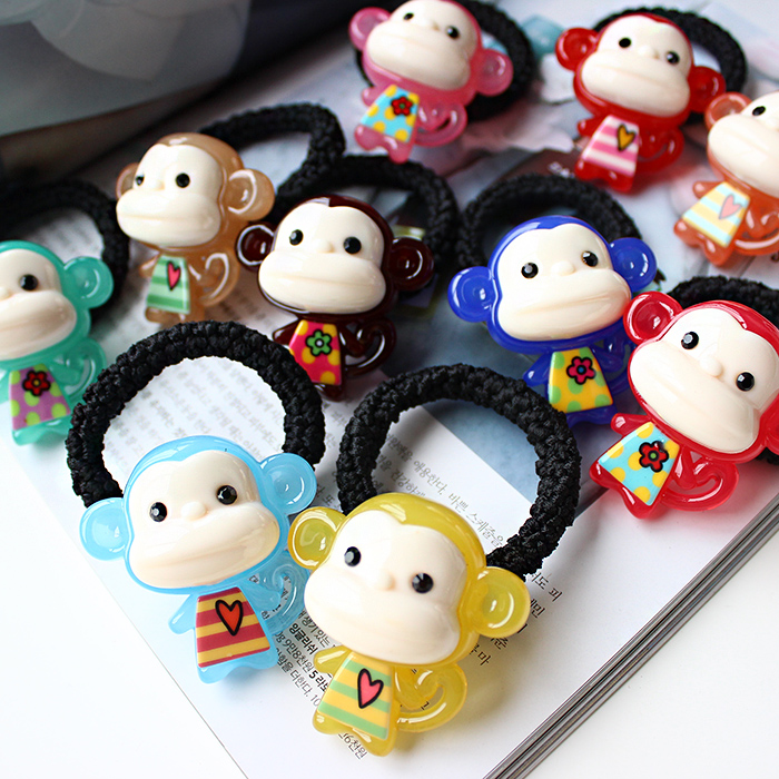 Meng meng little monkey korea acrylic hair ring hair rope rubber band tousheng candy colored mouth monkey youxihou