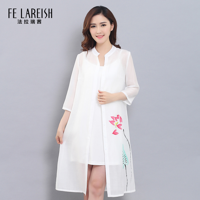 Meng yan 2016 spring and summer new piece lotus lotus perspective chinese wind sleeve dress shirt collar chiffon