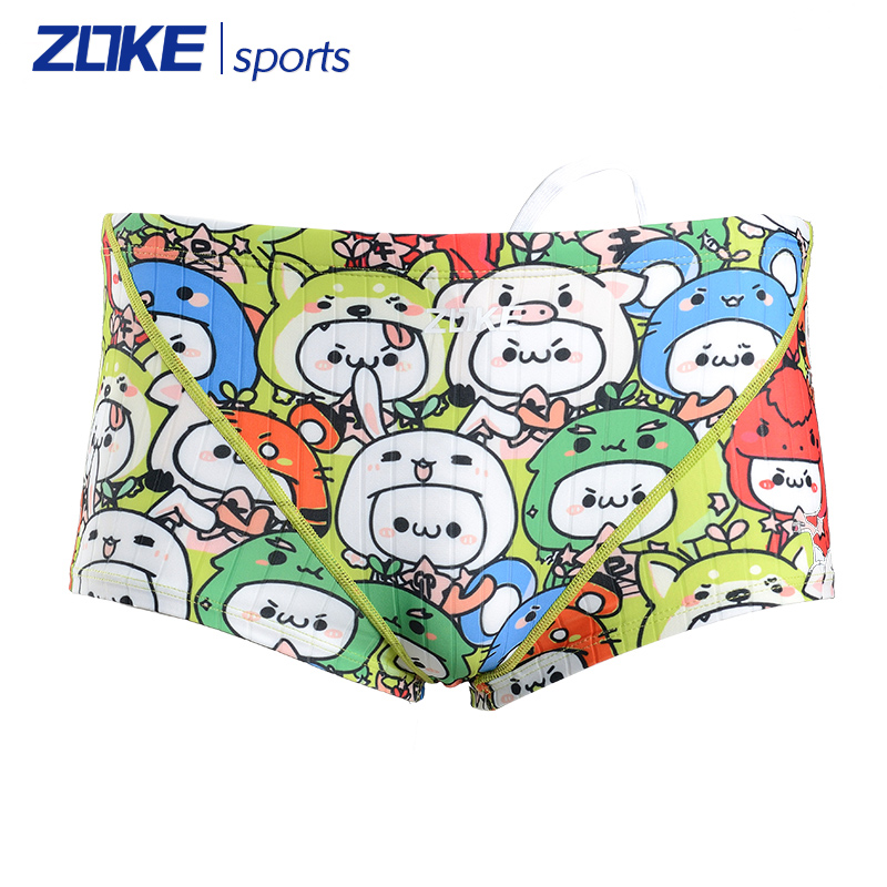 Men's boxer swim trunks zoke darvin professional training sports cartoon swimming trunks