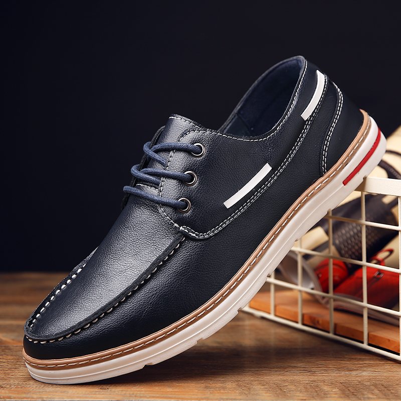 Men's casual shoes men casual shoes british male korean youth lace shoes to help low male board shoes tide shoes soft dough