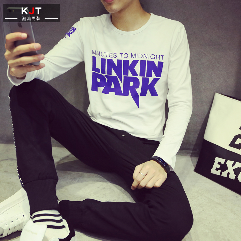 Men's long sleeve t-shirt autumn new round neck t-shirt printing bottoming shirt influx of men korean version of repair body t-shirt male teenagers thin
