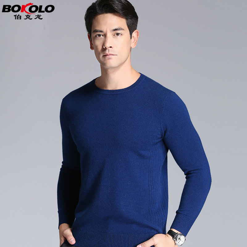 Men's round neck cashmere sweater autumn and winter hedging sweater wool sweater bottoming shirt middle-aged natal red