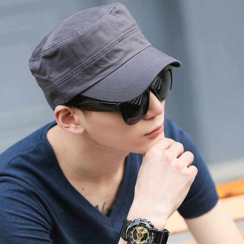 Men's solid color army hat ms. visor hat summer influx of men's cotton flat cap hat cap hat sun hat sun hat tide