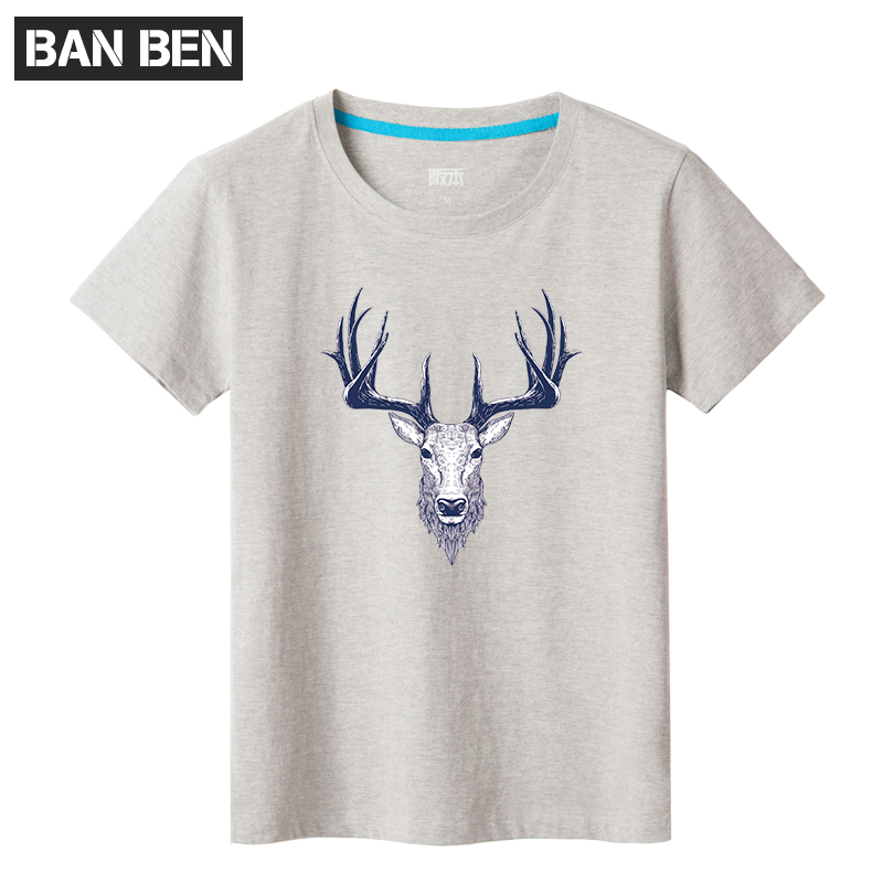 Men's summer youth deer printing casual men's round neck short sleeve t-shirt tide brand men short sleeve t-shirt korean version of the influx of students