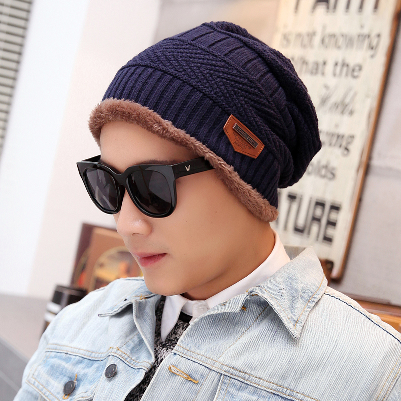 Men's winter hat korean tidal thick wool hat knitted hat autumn and winter days hedging hat cap baotou korean velvet