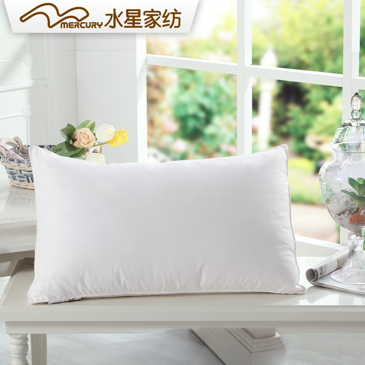 Mercury textile double stereo duck feather pillow cotton fabric pillow