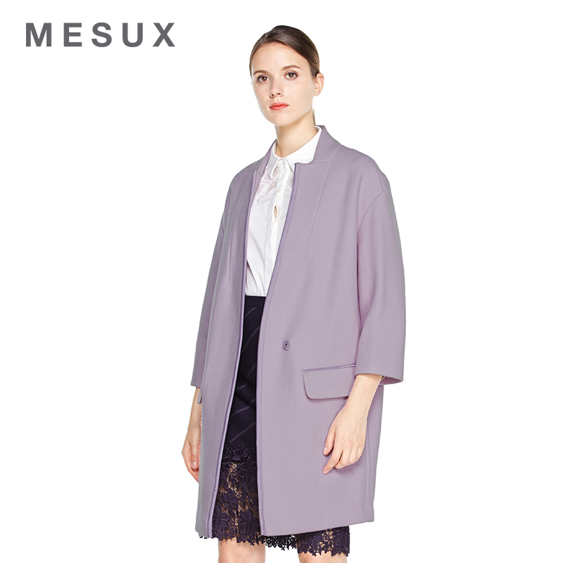 Mesux/ç±³satin decorative stone 2016 fall and winter collarless coat was thin coat off shoulder silhouette coat MDWUI223