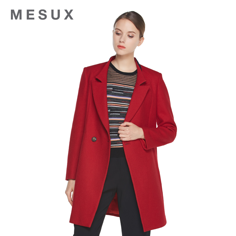 Mesux/ç±³xiu 2016 autumn new simple spell color slim was thin woolen coat MDFUI204