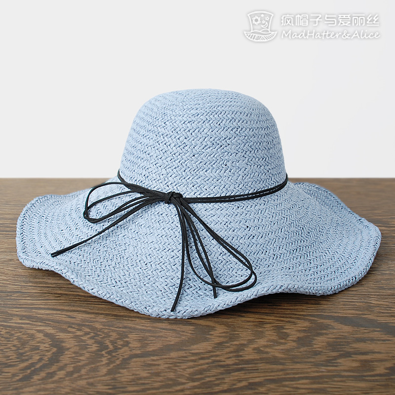 [Met summer] knit hat folding beach hat female summer sun hat bow sun hat cover