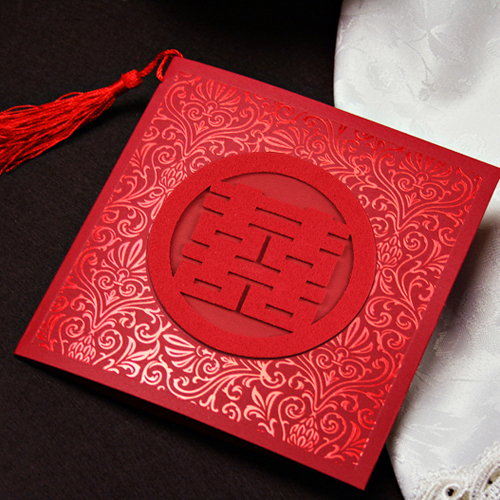 Met the love marriage square personalized invitations invitations wedding invitations chinese wedding invitations custom wedding supplies wovens