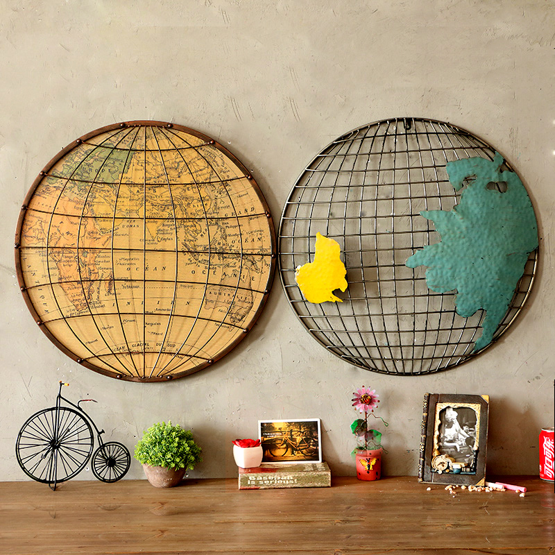 Metal painting retro bar living room decorative painting wrought iron wall hanging wall decorations wall hangings wall hangings american map