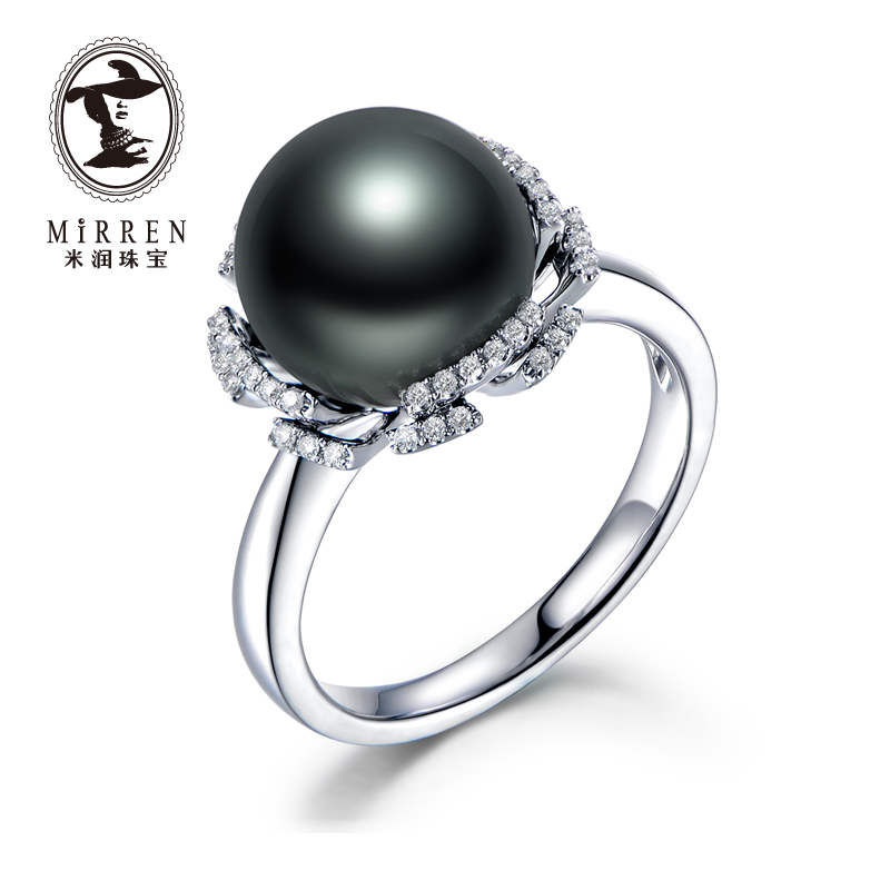 Meter run jewelry tahitian black pearl ring k gold inlay diamond petals