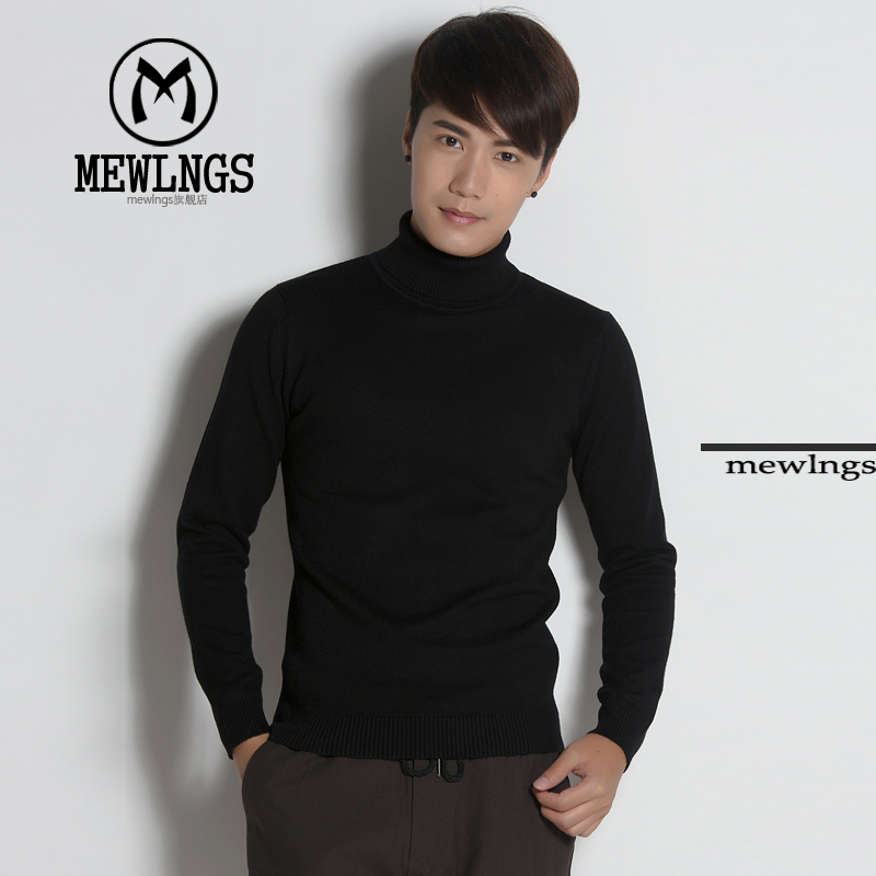 Get Quotations · Mewlngs autumn and winter turtleneck sweater knitted wool sweater bottoming korean men bottoming shirt long sleeve