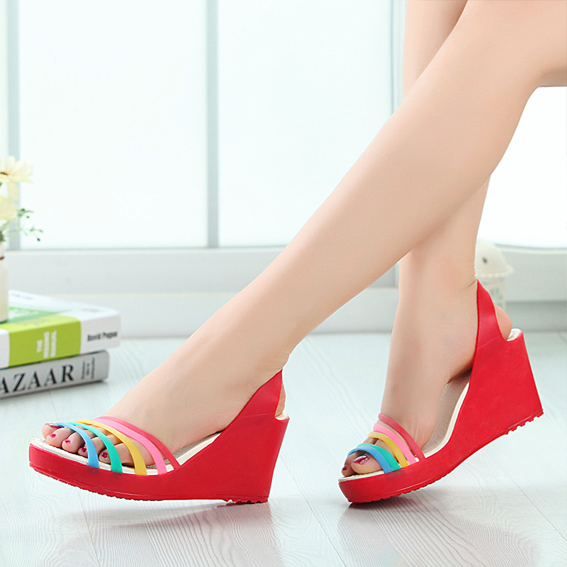 Mexican lanpu si summer new women's shoes ladies high heels high heels sandals rainbow of colorful shipping