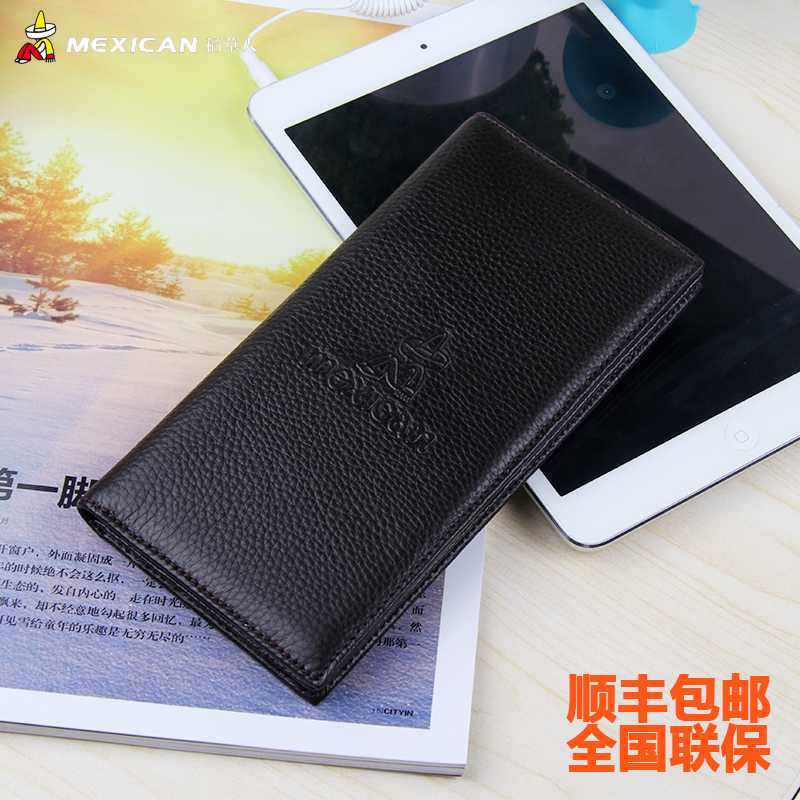 Mexican/scarecrow simple fashion first layer of leather men's business wallet card bit more wallet large capacity thin