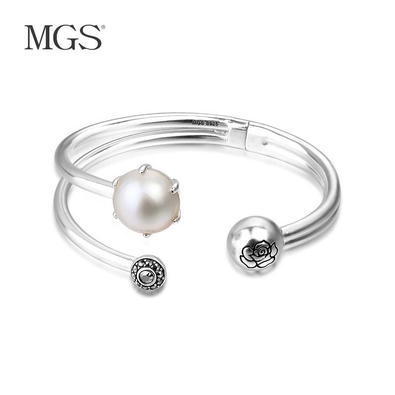 Mgs mangu silver/silver retro bangkok roses style incise marcasite bracelet pearl s 926