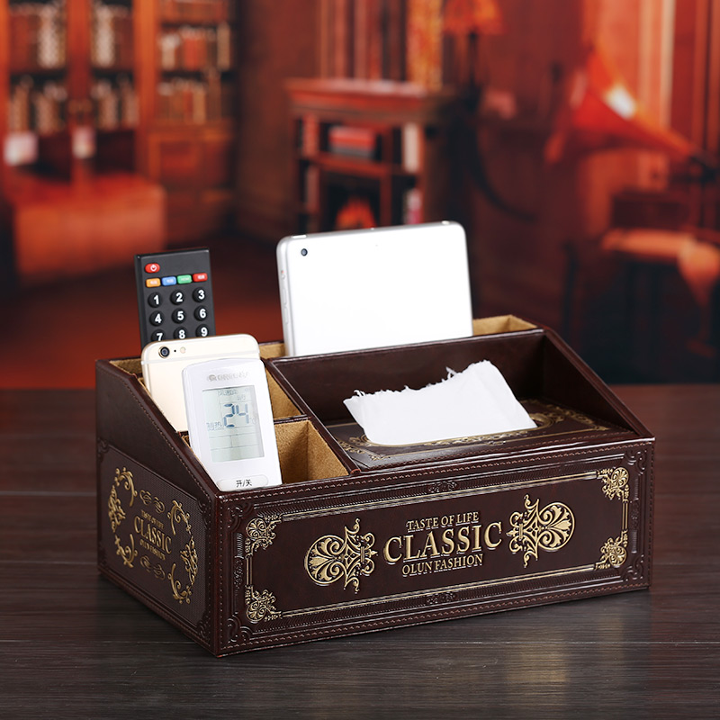 Micro love words woodiness leather multifunction storage box pumping paper tissue box creative retro coffee table desktop remote control box