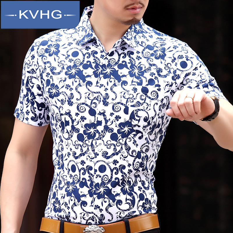 Middle-aged father loaded kvhg 2016 summer new short sleeve t-shirt fashion iron business casual dress tide 9965
