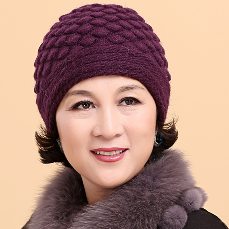 Middle-aged ladies autumn and winter rabbit fur hat wool cap thick needle knitting wool hat millinery hat elderly middle-aged mom